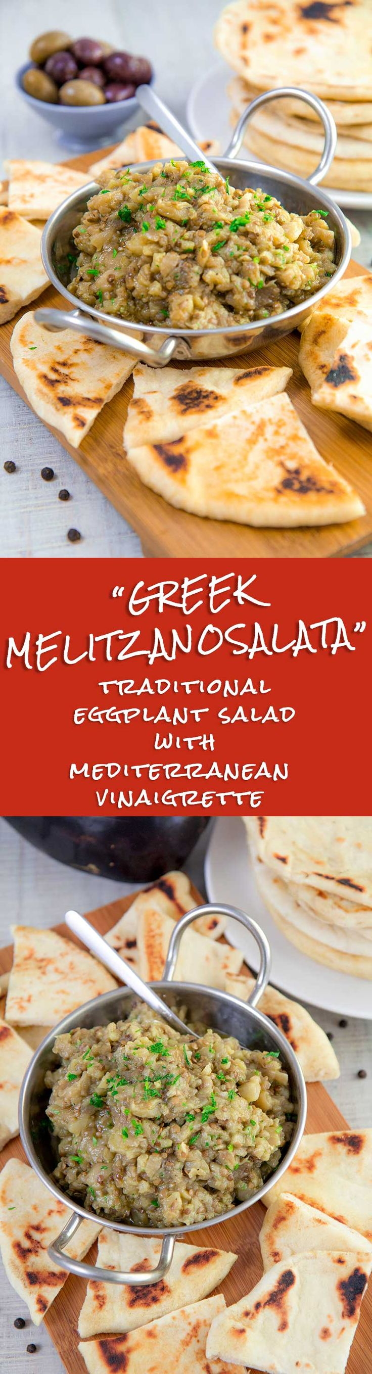 MELITZANOSALATA - traditional Greek eggplant salad recipe - Melitzanosalata is a tasty Greek appetizer traditionally served aside meats, pita bread, and other sauces. This eggplant salad is a delicious and healthy starter, but it also a perfect ingredient for a sandwich or a Pita Gyro. I love preparing this vegan small plate along with Tzatziki sauce, Souvlaki, and Greek salad. Tags: Mediterranean, comfort food, healthy recipes, family dinner, aubergines, vegan, vegetarian, dip, Gyro, Greece