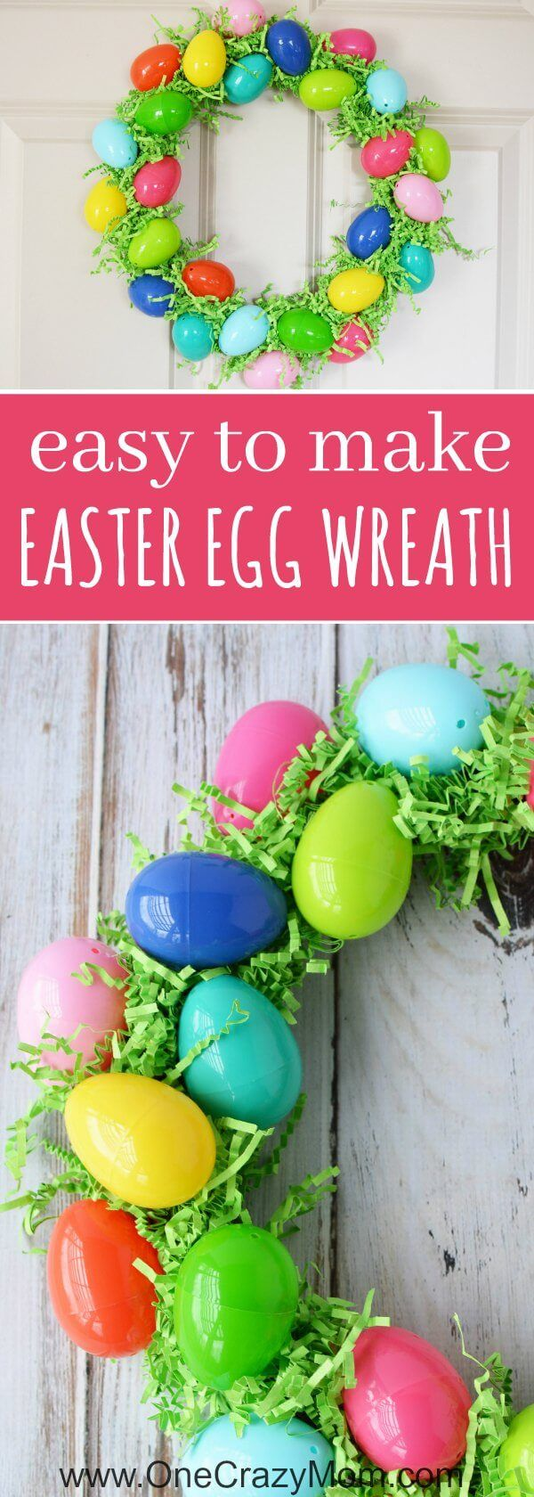 Make this DIY Easter Egg Wreath with items from the dollar store. You will love these simple Easter decorations and Easter egg crafts. DIY Easter Crafts are so fun! Try making Easy Easter Wreaths!