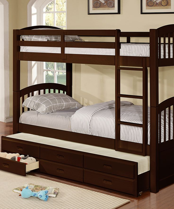 Espresso Noah Twin-over-Twin Storage Drawer Trundle Bunk Bed