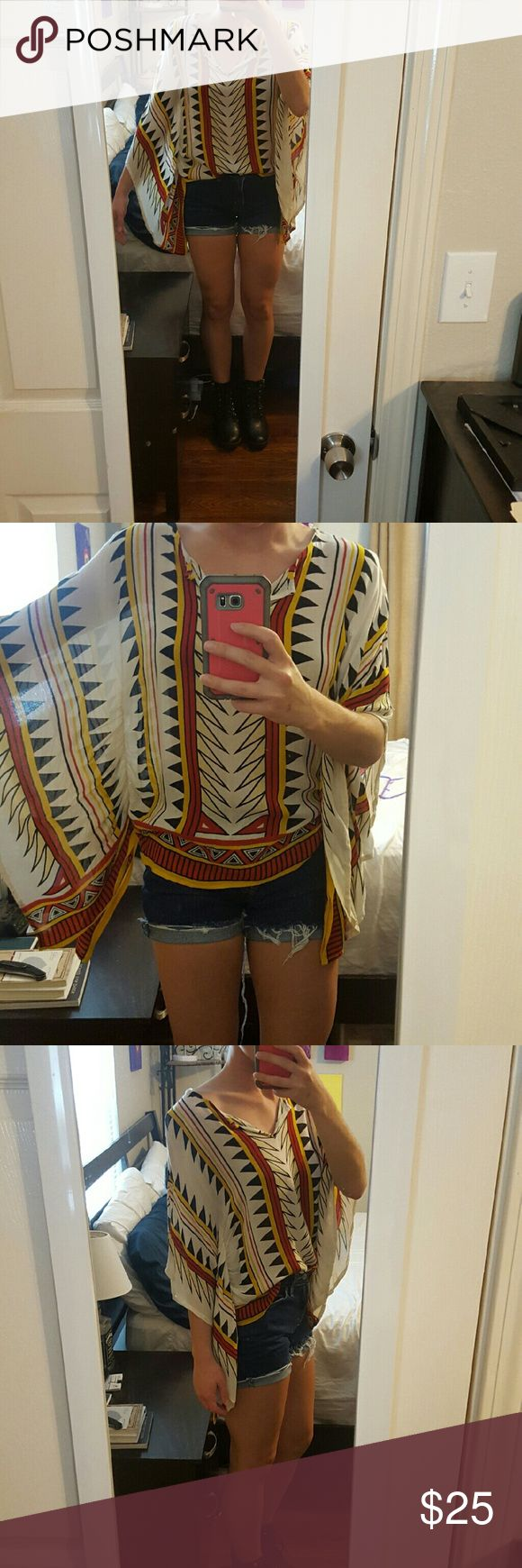 Tribal Bohemian Blouse Colors- Off White, Black, Mustard Yellow, Red, Yellow. Thin material. 100% Rayon Earthbound Trading Company  Tops Blouses