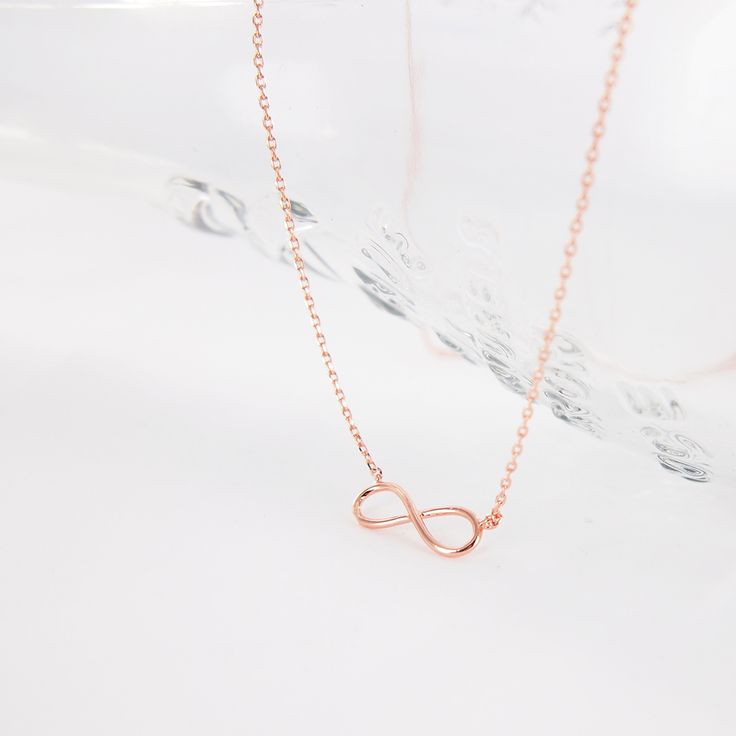 ♥ total length: 16 inches ♥ charm: 15 x 5 mm ♥ metal : rose gold plated ♥ lobster clasp ♥ Available in Silver ♥ Available in Gold ♥ Matching Simple Infinity Bracelet ♥ Matching Simple Infinity Ring