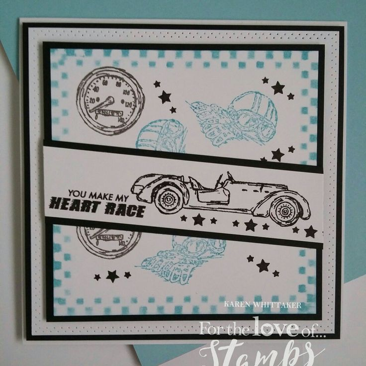 For The Love of Stamps Classic Cars stamp set.  #fortheloveofstamps #hunkydorycrafts #classiccars #vintage #stamping #stamps #distressinks #cards #cardmaking #handmade