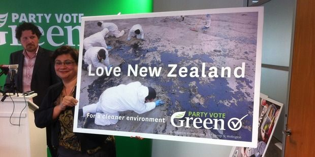 The Green party today released their new ad campaign 'creative'. The ad campaign is controversial in the manner that the adverts emphasise major New Zealand issues in an attempt to enlighten kiwis that everything is 'not okay'.   An example of the new advert is the recent Rena oil spill, gridlocked traffic and mining scars on landscape.  The 'creative' campaign is an opposite direction from the Greens Party usual marketing strategy that portrays New Zealand's clean, green image.
