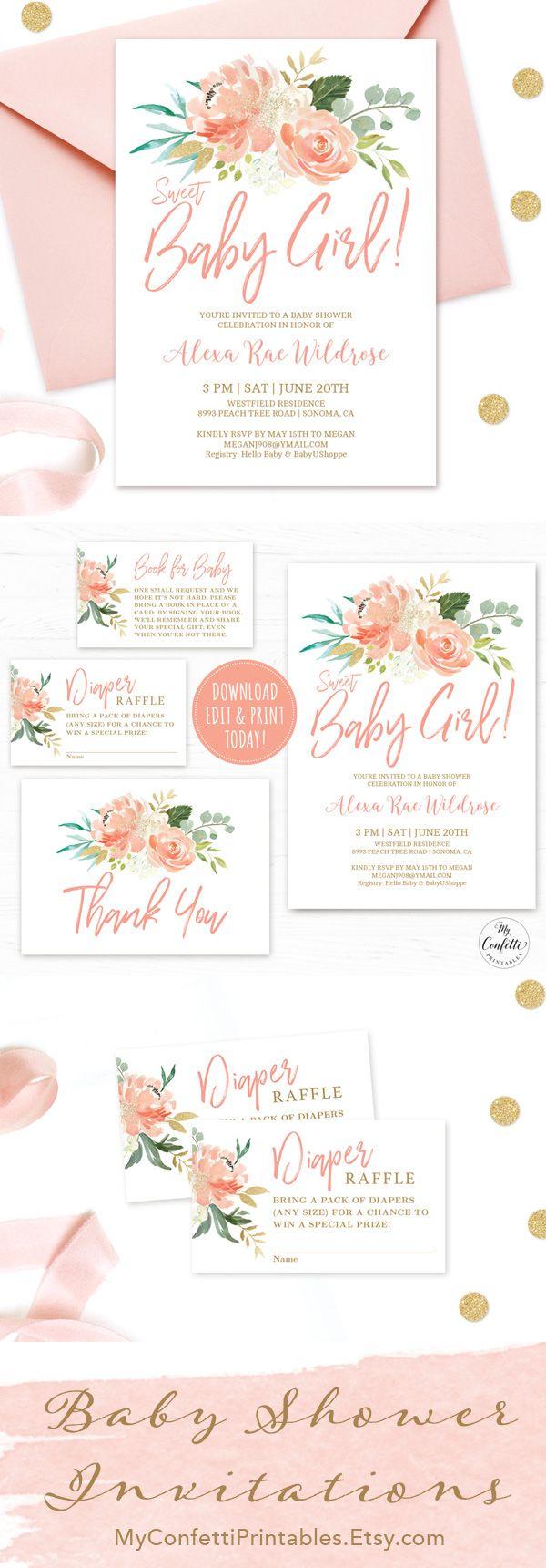 EDITABLE Girl Baby Shower Invitation Template, Printable Baby Shower Invitation Bundle, Peach Blush Floral, Boho, Sweet Baby Girl, MCP808