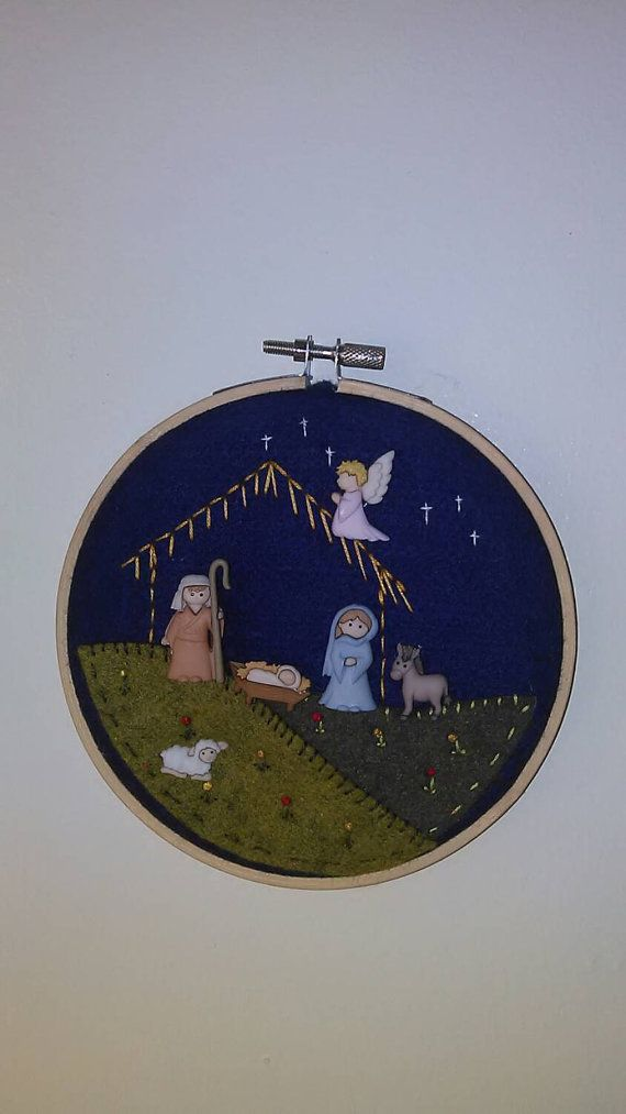 Nativity scene  embroidered felt buttons Baby by GiftsWithCharm