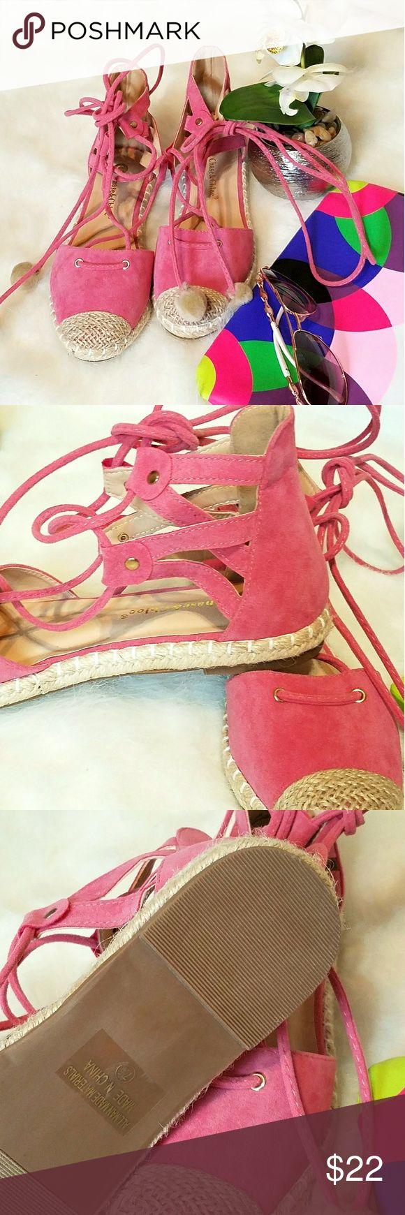 Pink Espadrilles Sandals Brand new, never worn.  Size 7.5.  Pom poms can be removed, I added them.  These could possible fit up to size 8.  Very comfortable & Summer ready sandals. Shoes Espadrilles