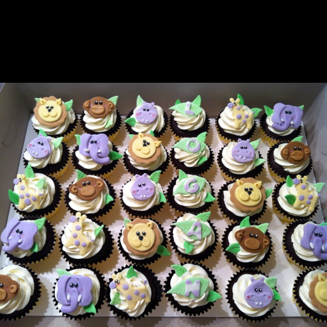 Baby Shower Ideas Cupcake Themed : Jungle themed baby shower cupcakes;) ? Cupcakes Cake ...