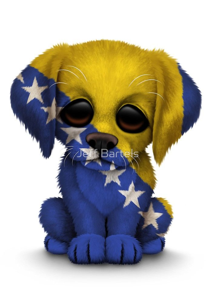 Cute Patriotic Bosnia – Herzegovina Flag Puppy