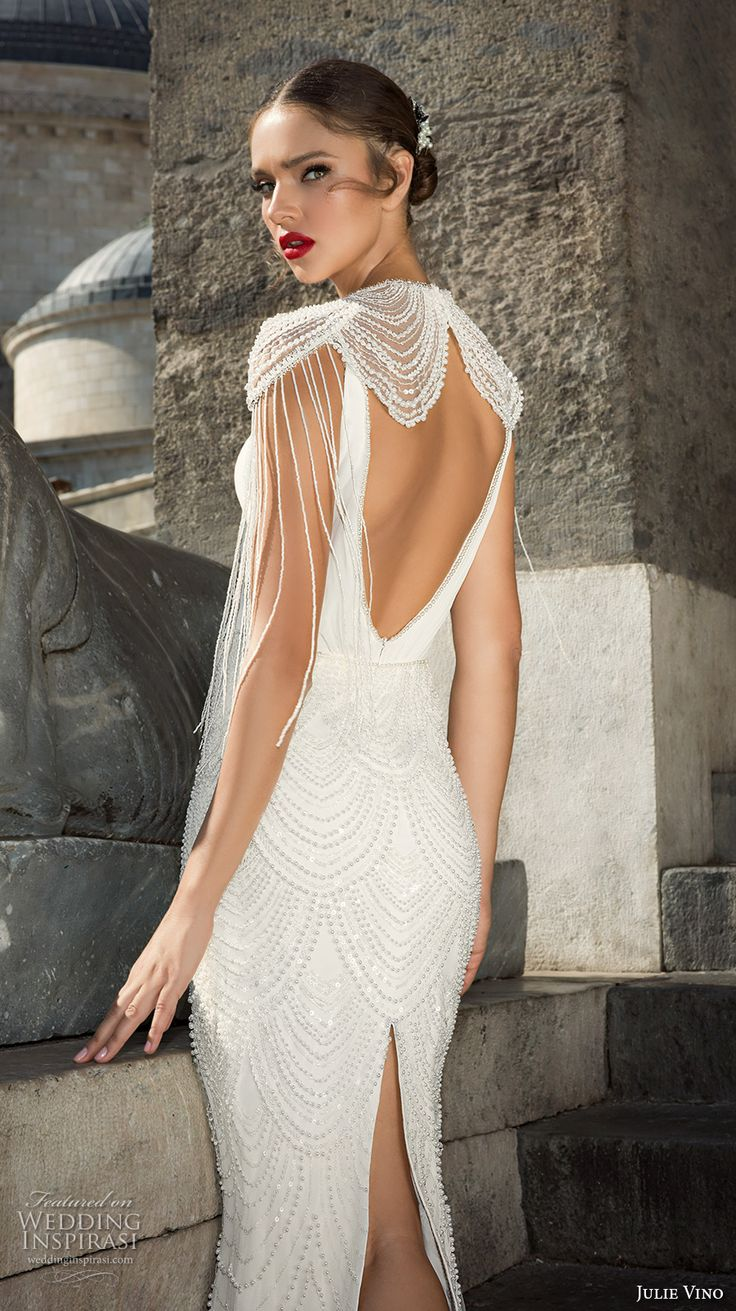 julie vino fall 2017 bridal cap sleeves illusion boat neck deep v neck full embellishment elegant sophiscated sheath wedding dress low back sweep train (1208) bv