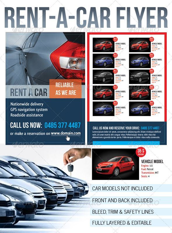 Rent A Car Flyer Graphicriver Rent A Car Flyer Any