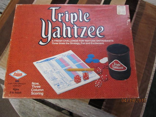 Vintage E.S. Lowe 1972 Milton Bradley Triple Yahtzee Game Complete in Box Instructions Score Pads by EvenTheKitchenSinkOH on Etsy