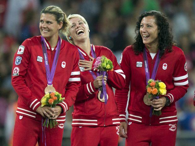 Christine Sinclair, Sophie Schmidt, and Melissa Tancredi - Canada women's soccer team