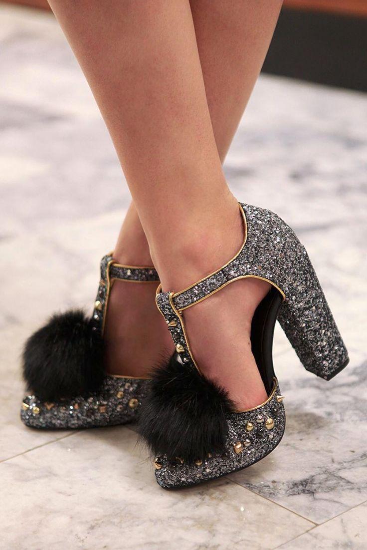 Glitter pom pom heels