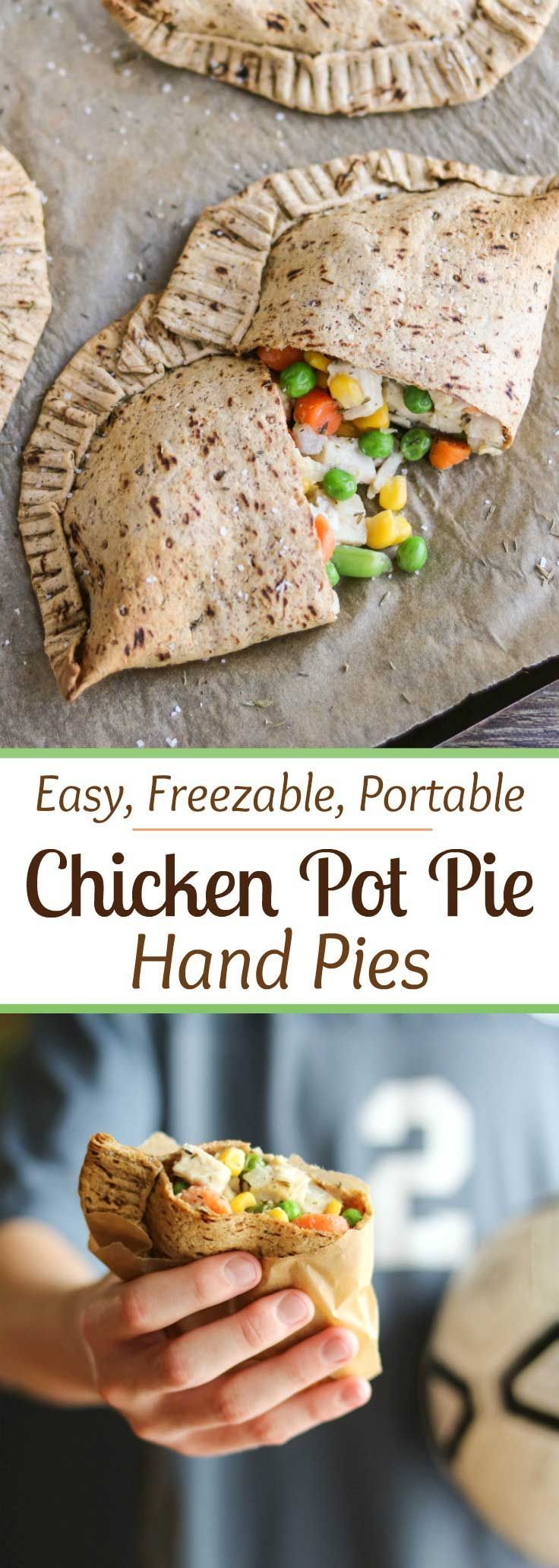 """Freezable make-ahead! Perfect grab-and-go meal for busy nights! Our Easy Chicken Pot Pie Hand Pies have all the comforting, homestyle goodness of traditional chicken pot pies, but are more nutritious and totally portable. Filled with yummy (kid-friendly) veggies and chunks of tender white-meat chicken, plus a creamy (but not too messy!) sauce. All wrapped in a healthier, thyme-seasoned pot pie crust. Stock your freezer with healthy homemade """"Hot Pockets""""! {ad} 