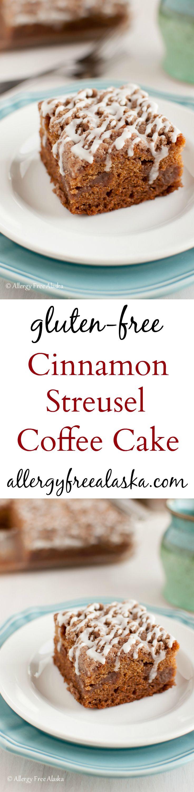This is so, SO good! Cinnamon Streusel Coffee Cake {gluten-free, dairy-free} Recipe from Allergy Free Alaska