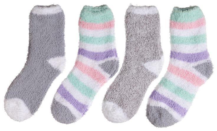 Super-soft Trimfit fuzzy socks keep your feet warm and cozy and make a great gift. Bright colors to make you smile! Features - Super Soft Warm Microfiber Fuzzy Socks - 4 Pairs - Reciprocated heel and