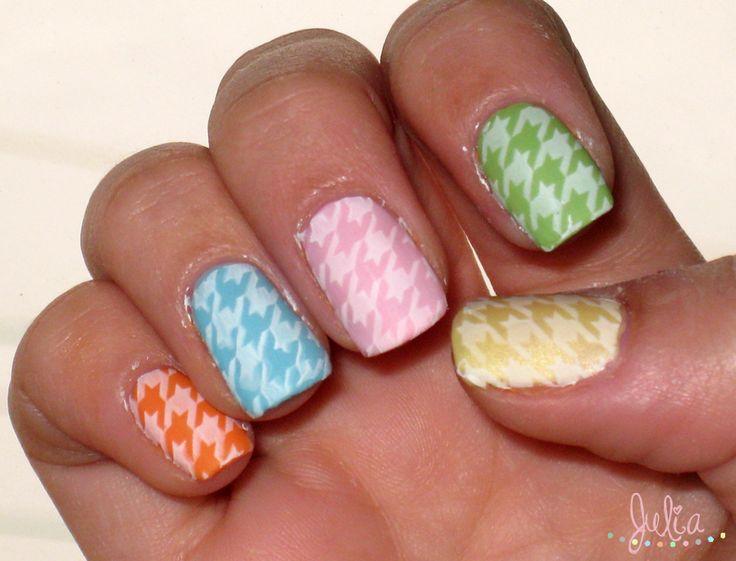 Nails Art pastel / Placa de estampación pata de gallo