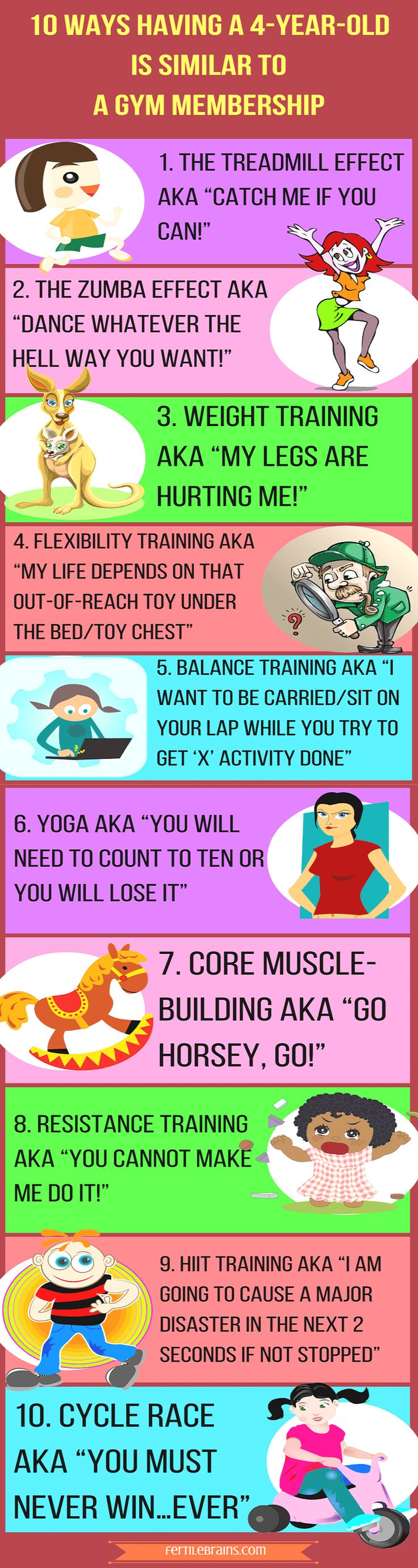 4-year-old's are a lot of hard work. Ask any mom of a 4-year-old and she will tell you how exhausted she feels at the end of the day. Here's why dealing with a 4-year-old  all day long is equivalent to a gruelling gym workout session. Parenting Humor. Read Now and/or Pin For Later #family