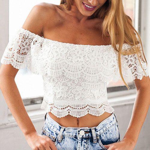Sexy Bateau Neck Short Sleeves White Blouse