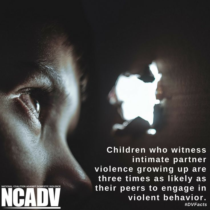 Children who witness intimate partner violence growing up are three times as likely as their peers to engage in violent behavior. #DVFacts