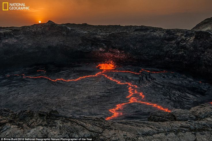 The lava created from the Erta Ale shield volcano in Ethiopia appears to have created the ...