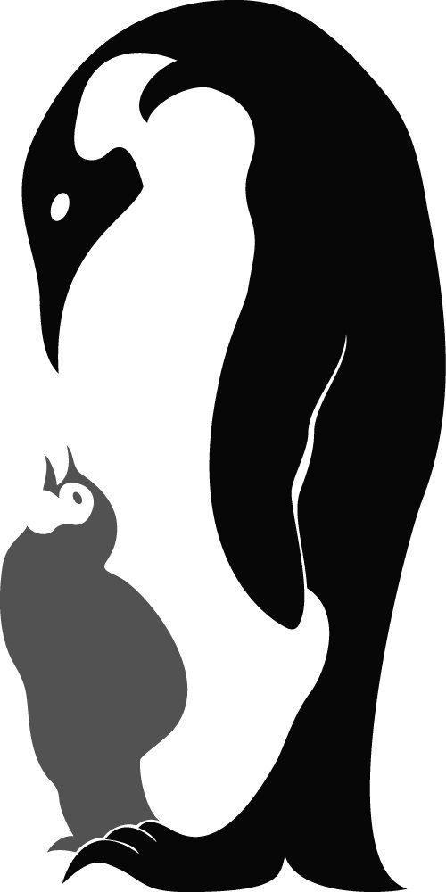 Vinyl Wall Art - Mother and child Penguin