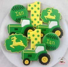 John Deere Party, John Deere Cookies, Tractor Cookies, John Deere Party  Favors, John Deere Logo Cookies, John Deere Tractor Cookies, Tractor Track  cookies