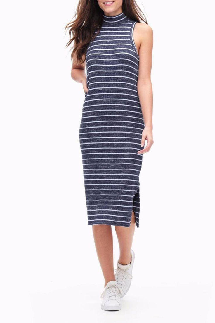 Sleeveless, midi-length dress with turtleneck collar and side-split hem. Classic stripes against a soft ribbed fabric blend make this a comfy, adorable option for a daily wear dress. Machine washable. Wear now with a leather jacket and booties for an edgy winter look or wear later with white sneakers and a denim jacket for a classic, easy summer look.   Striped Rib Dress by Splendid. Clothing - Dresses - Casual Clothing - Dresses - Midi Atlanta, Georgia