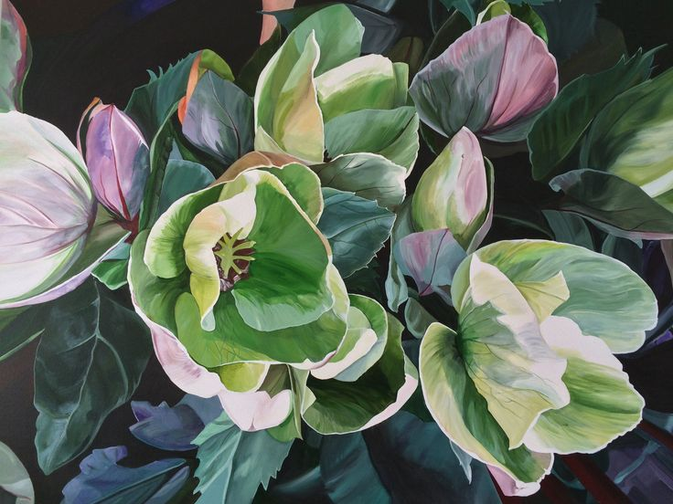 'Hellebores' 120 x 90 cm Jenny Fusca Paintings SOLD