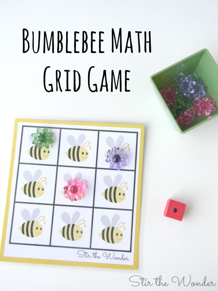 Bumblebee Math Grid Game, a fun Spring-themed game for preschoolers to practice counting and one-to-one correspondence!