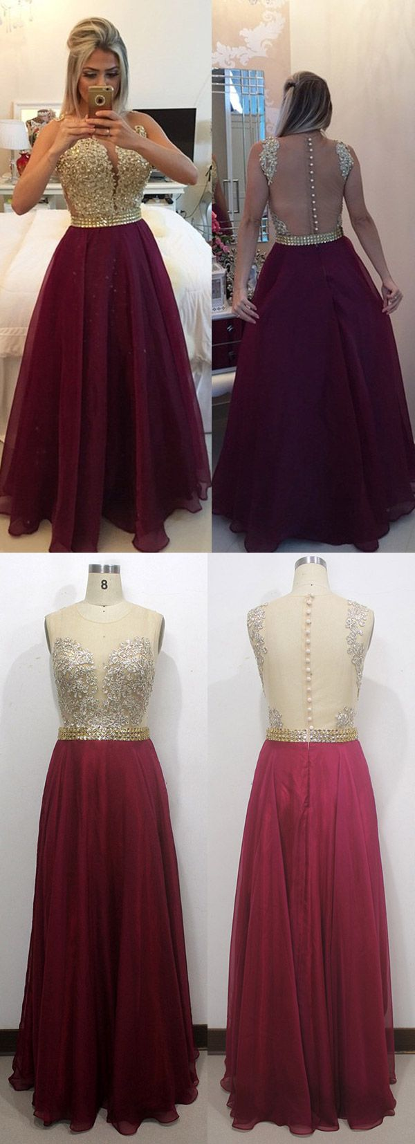 Burgundy Prom Dresses Long, Sexy Party Dresses Chiffon, Lace Formal Dresses 2018 Scoop Neck, A-line Evening Dresses Modest