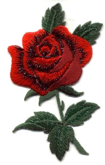 ROSE - SINGLE RED ROSE W/5 LEAVES FULLY EMBROIDERED IRON ON APPLIQUE PATCH