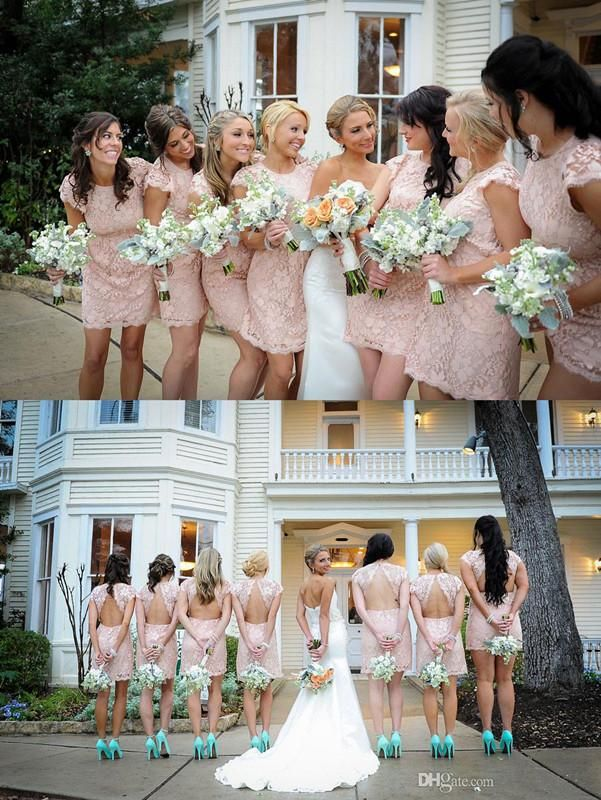 2014 Blush Pink Bridesmaid Dresses Crew Short Sleeves Backless A-Line Short Mini Lace Vestido De Dama De Honor LX, $69.16 | DHgate.com