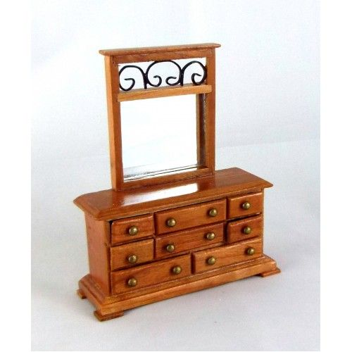 Captivating Dolls House Miniature 1:24 Scale Furniture Wood Wroght Iron Dressing Table
