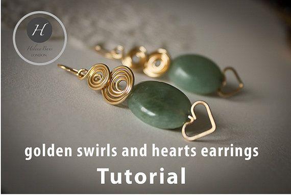 Gold swirls and hearts earrings tutorial by HelenaBausJewellery