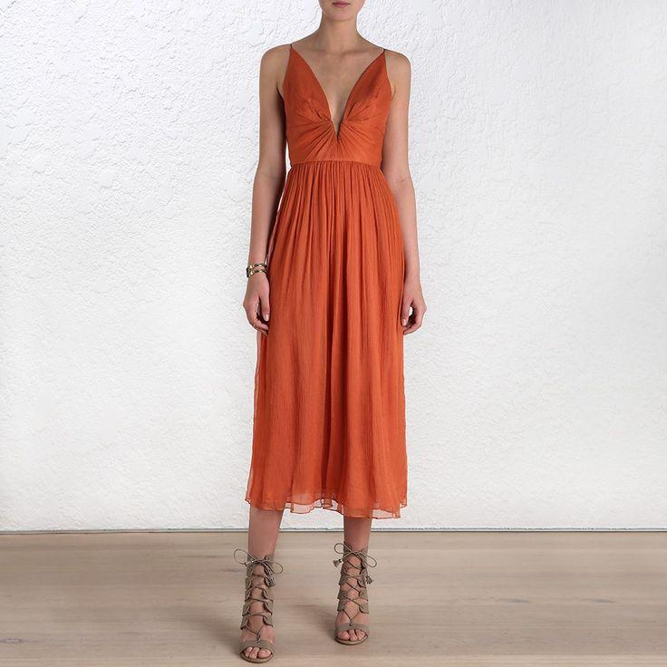 Burnt Orange Arcadia Plunge V Dress