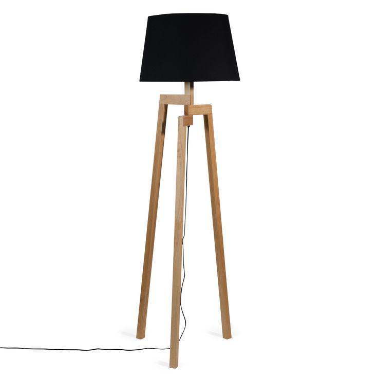Lampadaire trépied en bois et tissu H 150 cm WOODSTOCK Lampadaire a cote du bureau cote table salle a manger 139 EUROS