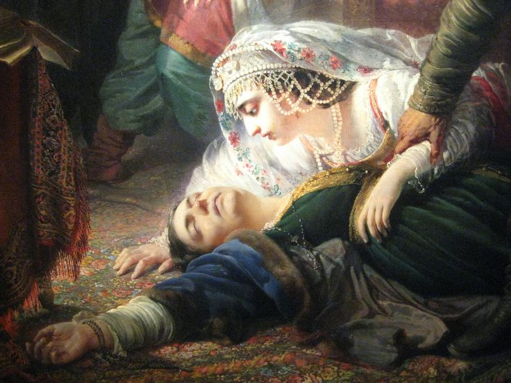 "Konstantin Makovsky (1839–1915)  ""False Dmitry's agents murdering Feodor Godunov and his mother"" (1862)  Tretyakov Gallery, Moscow"