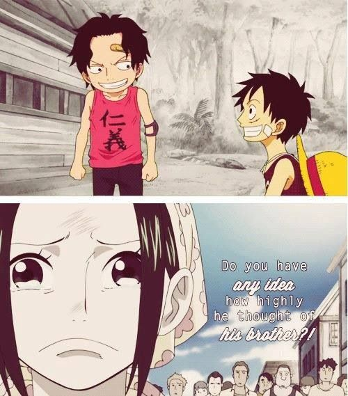Luffy and Ace from One Piece :'( -even sadder then when Minato and Kushina die in Naruto :'(