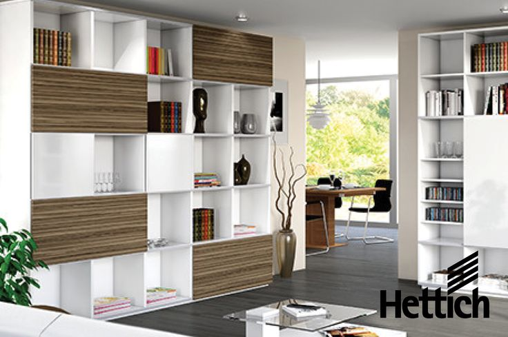 The SlideLine M Sliding Door System by Hettich. Just one profile can be used for running two doors fitted one above the other. Click the pin for inspiration & more information. #slidingdoors #shelvingdesign