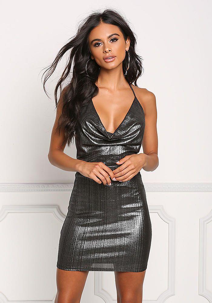 Silver Metallic Plunge Draped Bodycon Dress - Dresses