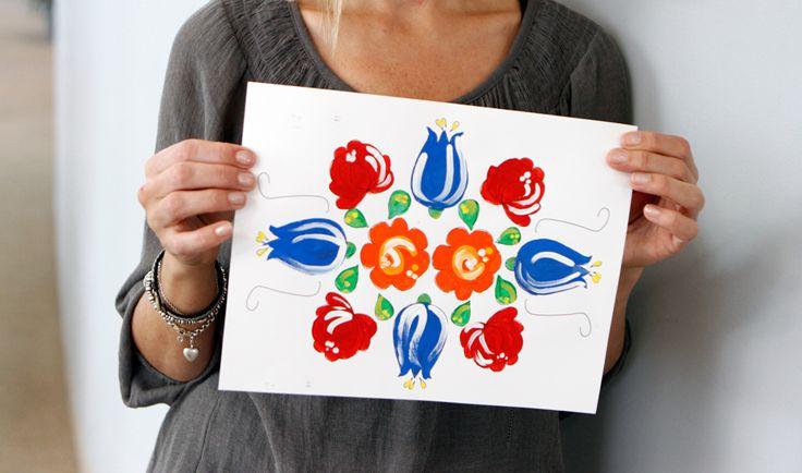 Cultural Craft for kids: Norwegian rosemaling