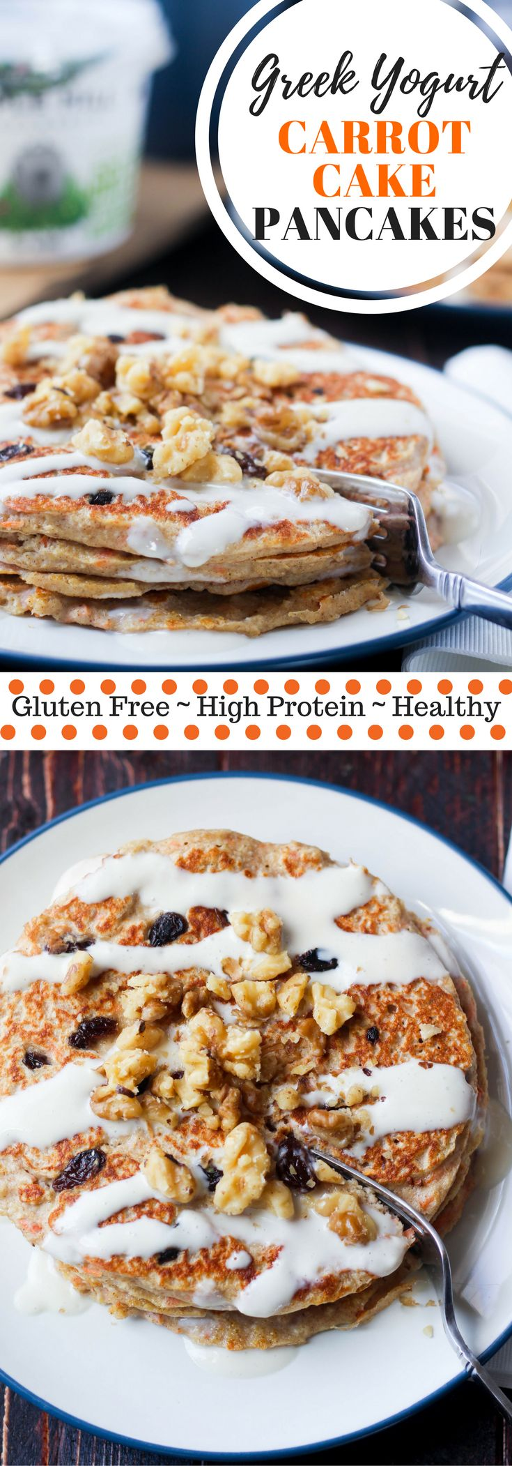 Gluten Free Carrot Cake Greek Yogurt Pancakes are high protein, high fiber, and taste like your favorite cake, what's not to love?   #sponsored via @hungryhobby