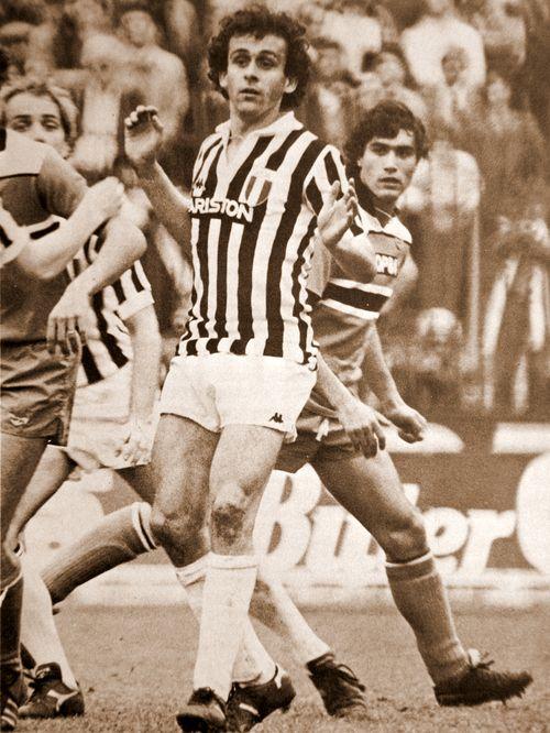 Platini in classic Juventus kit.