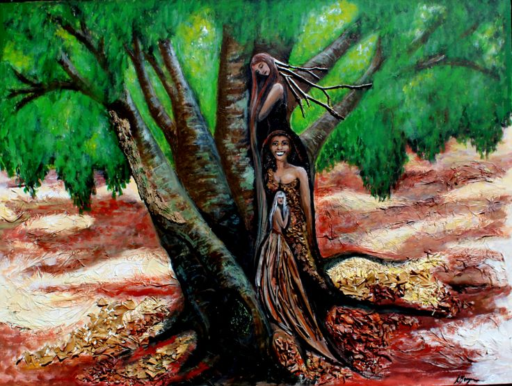 """The inspiration for the series, No 1 """"The women of the Tree"""" $400. SOLD"""
