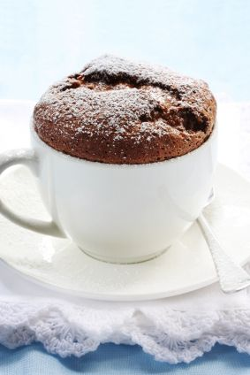 Ingredients (per person):    - 4 tbs flour    - 4 tbs sugar    - 2 tbs cocoa    - 2 tbs vegetable oil    - 2 tbs water         Method:    Put flour, sugar and cocoa into mug.  Stir.  Add oil and water and mix well, so there are no more lumps.  Microwave on high for 1 minute.  The brownie should be set on the edges but look a bit wet in the center.  Microwave an additional 10 seconds if it is not quite done.  Let cool a bit and enjoy with a spoon, right out of the mug!