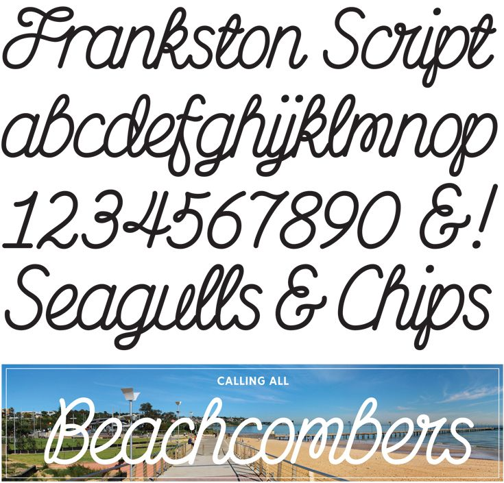 Commissioned by the Frankston City Council, this bespoke mono-line script typeface was designed for the marketing of the Frankston area, taking as its cue the monumental urban marker 'To the Beach' (2012) designed the previous year. The typeface features many alternate 'Fr' and 'Fra' ligatures. #typography #studio #melbourne #type #characters #letterbox #stephenbanham #frankstonscript #font #frankston #script