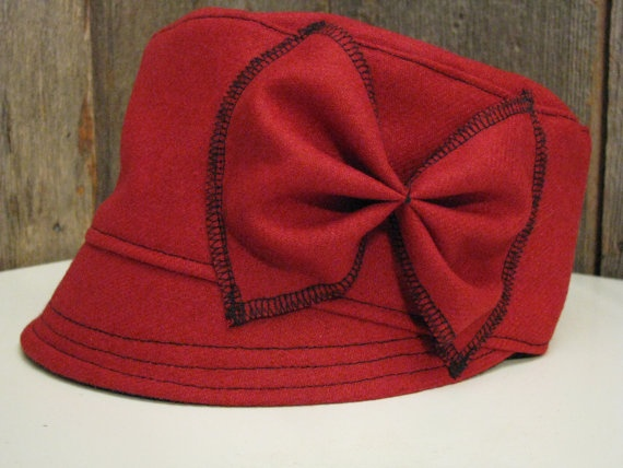 Red Wool Cadet with Bow Size 22 1/2 Winter Hat Wool by sugarsoul, $55.00