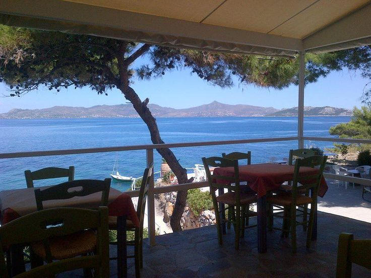 Rosy's Little Village, Agistri Island. Our petite restaurant with Aegina in the background http://www.organicholidays.com/at/1408.htm