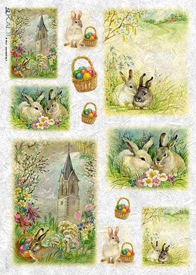 Papier ryżowy Kalit do decoupage pas_0018 Wielkanocne obrazki Wielkanoc - sklep DecoupageArt.pl